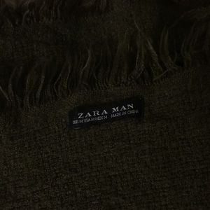 Zara Accessories - Zara Men olive green woven long wool blanket scarf